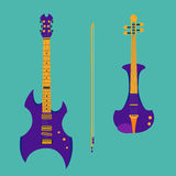 Set of string instruments. Purple electric violin Royalty Free Stock Photos