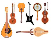 Set of stringed musical instruments classical orchestra art sound tool and acoustic symphony stringed fiddle wooden. Equipment vector illustration. Vintage Stock Photography