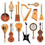 Set of stringed musical instruments classical orchestra art sound tool and acoustic symphony stringed fiddle wooden. Equipment vector illustration. Vintage Royalty Free Stock Photo