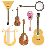 Set of stringed musical instruments classical orchestra art sound tool and acoustic symphony stringed fiddle wooden. Equipment vector illustration. Vintage Royalty Free Stock Images