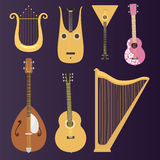 Set of stringed musical instruments classical orchestra art sound tool and acoustic symphony stringed fiddle wooden. Equipment vector illustration. Vintage Stock Images