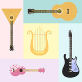 Set of stringed musical instruments classical orchestra art sound tool and acoustic symphony stringed fiddle wooden. Equipment vector illustration. Vintage Royalty Free Stock Photography