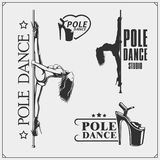 Set of strip plastic and pole dance emblems, labels and design elements. Girls on the pole. Royalty Free Stock Photo