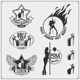 Set of strip plastic and pole dance emblems, labels and design elements. Girls on the pole. Stock Image