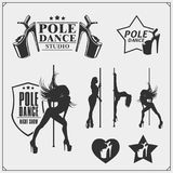 Set of strip plastic and pole dance emblems, labels and design elements. Girls on the pole. Stock Photo