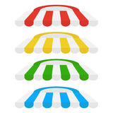 Set of striped awnings for shop and marketplace. Flat design vector illustration, vector Stock Photography