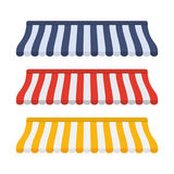 Set of striped awnings for shop. And marketplace. Vector illustration in flat style Royalty Free Stock Photography