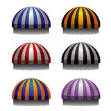 Set of striped awnings for shop and marketplace. On white background Royalty Free Stock Images