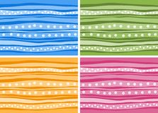 Set of  striped background with abstract flowers and dots Royalty Free Stock Photography