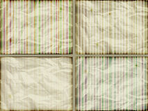 Set: striped backgrounds. On crumpled burning paper Stock Photo