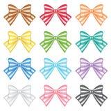 Set of Striped bows. stock illustration