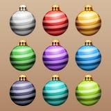 Set of Striped Christmas Balls Royalty Free Stock Photo