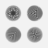Set of striped halftone spheres. Royalty Free Stock Images