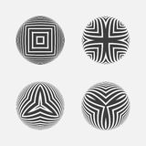Set of striped halftone spheres. Stock Photography