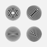 Set of striped halftone spheres. Royalty Free Stock Image