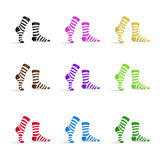 Set of striped multicolor socks Stock Photography