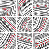 Set of striped pattern with black-and-white and red thin strips Stock Photography