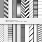 Set of striped seamless patterns, black and white texture, vector eps10 Stock Photo
