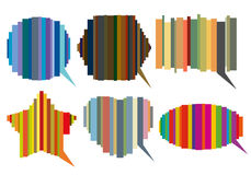 Set of striped speech bubbles Royalty Free Stock Photos