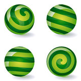 Set of striped spheric icons Royalty Free Stock Images