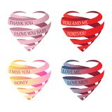 Set of striped three-dimensional Valentine's hearts stock image