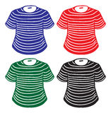 Set of stripes-coloured shirts Royalty Free Stock Photos