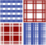 Set of stripes and squared pattern background. Vector illustrations Stock Images