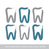 Set of stroke hand-drawn simple tooth icons, real ink brush draw Stock Photography