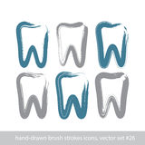 Set of stroke hand-drawn tooth icons, real ink brush Stock Image