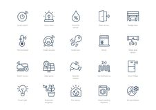 Set of stroke smart home icons isolated on light background royalty free illustration