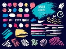 Set stroke spot blod. Brush, pen, marker, chalk. Vector distressed grunge modern textured brush stroke. Dry brush. Hand drawn royalty free illustration
