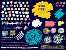 Set stroke spot blod. Brush, pen, marker, chalk. vector illustration