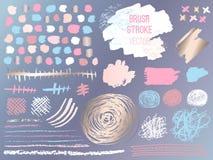 Set stroke spot golden pink blog. Brush, pen, marker, chalk, brush stroke, lines, points, gold. stock illustration