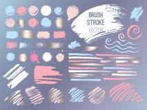Set stroke spot golden pink blog. Brush, pen, marker, chalk, brush stroke, lines, points, gold. Vector distressed grunge modern textured brush stroke. Dry vector illustration