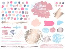 Set stroke spot golden pink blog. Brush, pen, marker, chalk, brush stroke, lines, points, gold. Vector distressed grunge modern textured brush stroke. Dry stock illustration