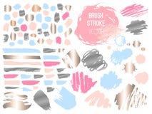 Set stroke spot golden pink blog. Brush, pen, marker, chalk, brush stroke, lines, points, gold. royalty free illustration