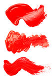 Set of strokes of red paint Stock Photography