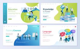Set strona internetowa projekta szablony dla dystansowej edukaci, konsultujący, trenujący, językowi kursy royalty ilustracja