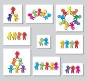 Set stubarwni logowie, ikony stylizowana postać mężczyzna Kreatywnie praca zespołowa logo elementy projektu podobieństwo ilustrac Fotografia Royalty Free