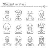 Set of student avatars. Stock vector icons. Royalty Free Stock Photo