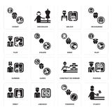 Set of Student, Fisherman, Priest, Construction worker, Surgeon, Miner, Pilot, Welder, Chemist icons. Set Of 16 simple  icons such as Student, Fisherman Stock Photography