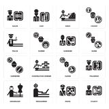 Set of Student, Pirate, Dressmaker, Clown, Carpenter, Gardener, Police, Miner, Sailor icons. Set Of 16 simple  icons such as Student, Pirate, Programmer Royalty Free Stock Photos