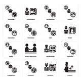 Set of Student, Scientist, Hairdresser, Programmer, Priest, Chef, Concierge, Fisherman icons. Set Of 16 simple  icons such as Student, Scientist, Showman Stock Image