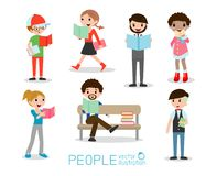 Set of students with books,people reading book, Vector Illustration. Stock Image