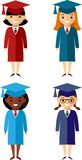Set of students different nationalities in graduation gown and mortarboard. Vector illustration of a Group of School Children and graduates Stock Photo