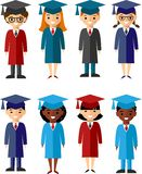 Set of students different nationalities in graduation gown and mortarboard. Vector illustration of a Group of School Children and graduates Royalty Free Stock Images