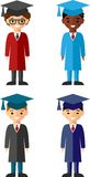 Set of students different nationalities in graduation gown and mortarboard. Vector illustration of a Group of School Children and graduates Royalty Free Stock Photo