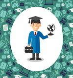 Set of students in graduation gown and mortarboard in background of education icons. Illustration of graduates with background of education icons Stock Image