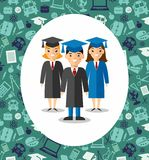 Set of students in graduation gown and mortarboard in background of education icons. Illustration of graduates with background of education icons Royalty Free Stock Photography