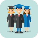 Set of students in graduation gown and mortarboard. Illustration of graduates with background of education icons Royalty Free Stock Image